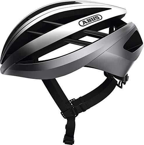 ABUS Aventor Rennradhelm - Sehr gut belüfteter Fahrradhelm für professionellen Radsport für Damen und Herren - 81672 - Silber, Größe L