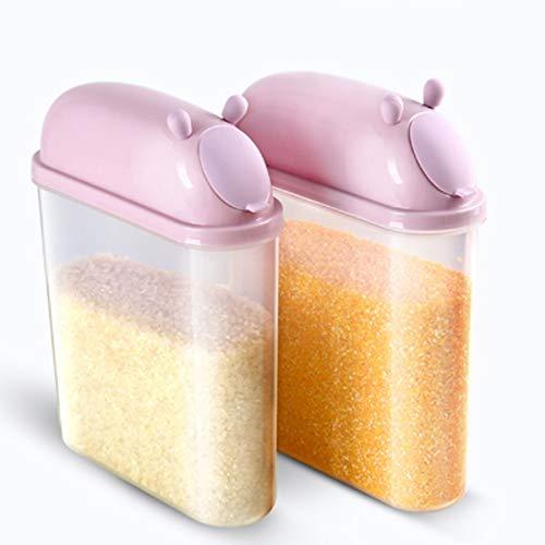 Contenedores de Cereales de 2 Piezas, contenedor de Almacenamiento de Alimentos de Armario de Cocina Sellado de Gran Capacidad, Ideal para Pasta de Espagueti de Granos de Cereales