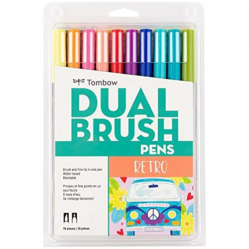 Tombow Dual Brush Pen Art Markers (10-Pack, Retro)
