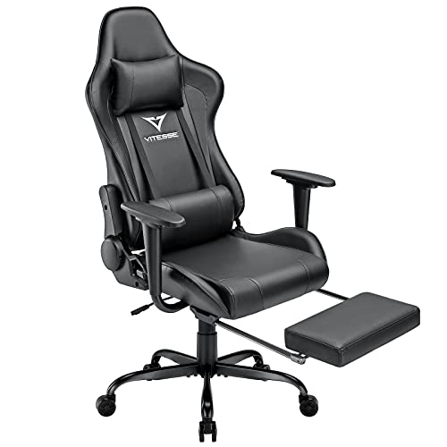 Vitesse Gaming Chair Office Computer Desk Chair with Footrest and Headrest Racing Game Ergonomic Design High-Back E-Sports Chair PU Leather Swivel Chair (Classic Balck)