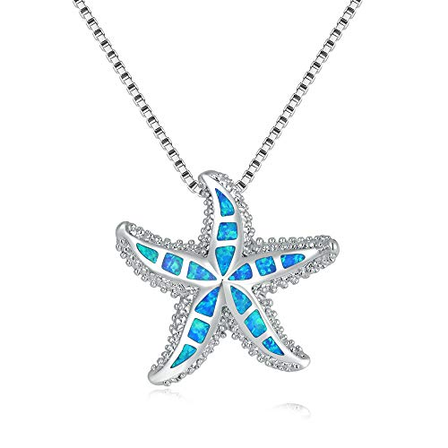 CiNily Opal Pendant Necklace Starfish Star Pendant 14K White Gold Plated Jewelry Ocean Sea Gemstone Necklace for Women Girls