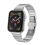 ANBEST Correa de Reloj Compatible con Apple Watch Band 42mm/44mm Correa de Hombre Pulsera de Acero Inoxidable con Cierre Desplegable de Mariposa Banda de Reloj para Iwatch Series 5/4/3/2/1