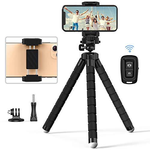 Phone Tripod, Auempress Flexible Tripod and Portable with Wireless Remote and Universal Clip, Compatible with iPhone/GoPro/Camera/Android for Live Streaming Tiktok YouTube Video Recording
