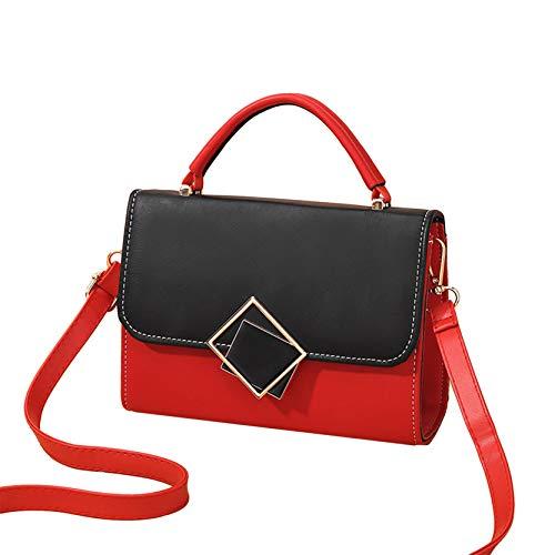 EMFGJ Bandolera pequeña de piel sintética para el hombro, a la moda, pequeña solapa, elegante, moderna, para trabajo, compras, viajes, color rojo y negro