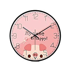 LL-Enjoyy Cartoon Style Wall Clock, Metal Frame Paper Coated Dial Glass Mirror Quartz Clock, Children's Room Kindergarten School Wall Decoration, 3030cm,Pig