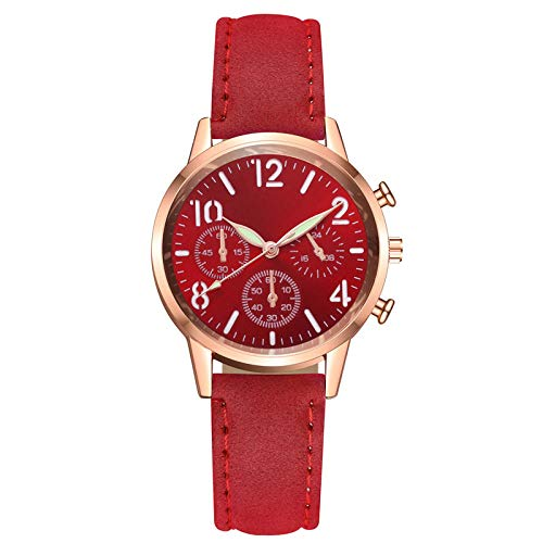 Topashe CláSico Cuarzo Relojes Minimalista,Reloj Luminoso de Alta Gama, Reloj de Cuarzo de Moda-Rojo,Relojes De Pequeño Minimalista