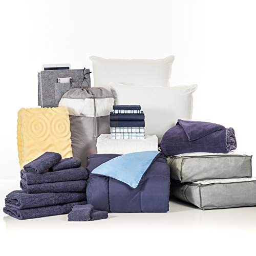OCM College Dorm Room 24-Piece Complete Campus Pak   Twin XL   with Topper, Comforter, Sheets, Towels, Storage & More   Navy and Cameron Plaid   Navy and Light Blue, Plaid Sheets