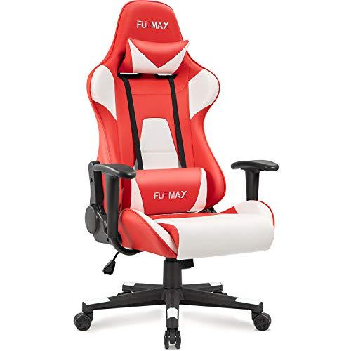 Furmax Gaming Stuhl Bürostuhl Racing Stil Computer Gamer Stuhl Hochlehner Schreibtischstuhl Professioneller Drehstuhl Stuhl Höhenverstellbar mit Lendenwirbelstütze und Kopfstütze (Rot)