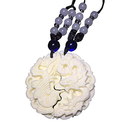 S-TROUBLE Collar con Colgante de Jade de dragón y fénix Tallado con Frutas de Marfil, Colgante de Pareja, Collar para Hombres/Mujeres