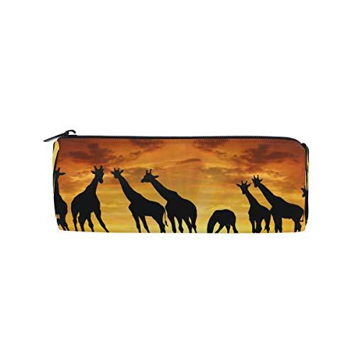 Xixiko Federmäppchen mit afrikanischem Tiermotiv, Giraffe im Sonnenuntergang, Schreibwaren, Stifteetui, Schultasche, Make-up-Tasche für Studenten, Mädchen, Jungen, Frauen, Teenager, Schule, Büro