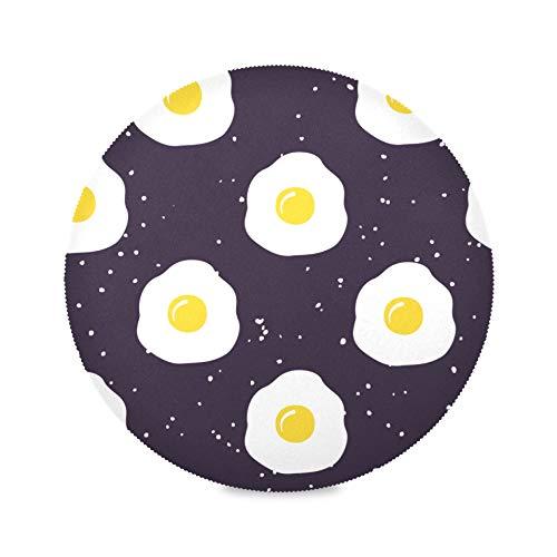 Juego de 4 manteles individuales de diseño redondo, huevos fritos, delicioso desayuno, manteles individuales de lujo, manteles individuales antideslizantes de 15.4 pulgadas, fáciles de limpiar, para