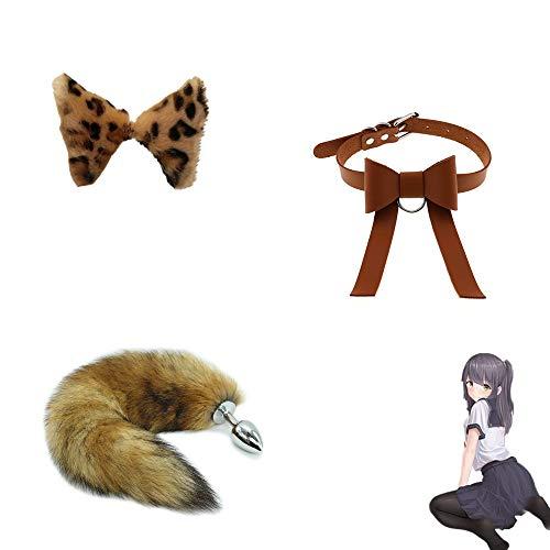 Acero Inoxidable Metal Furry Wolf Tail Bü-TT Plùg Set T-ö-ys con Bowknot Choker Disfraz de Cosplay Fiesta de Halloween (Marrón)
