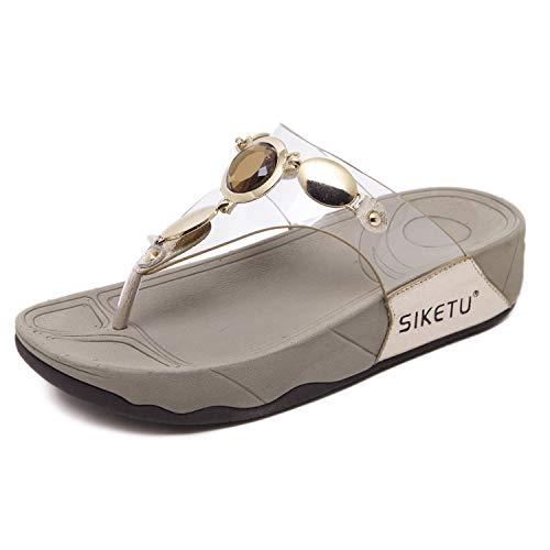 Damen Zehentrenner Frauen Zehen Pfosten Plattform Keil Flip Flop Sandalen mit Strass, Gold 39EU