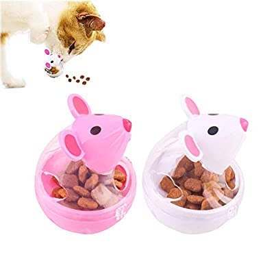 HUOXIG Cat Interactive Toy and Food Dispenser Treat Ball Cat Food Feeder Indoor Outdoor Cat Feeding Toys Transparent Mice Food Tumbler Pet interactive Toy Puzzle Play Toy Kids Toy -2PCS/Set