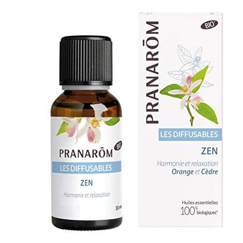 Pranarôm Parfum d'ambiance Bio Zen Huiles Essentielles pour Diffusion Orange et Cèdre Harmonie et relaxation 30 ml