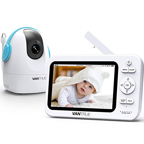 Vantrue A1 Video Baby Monitor with Camera and Audio, 720P 5 Inches Screen, Long Battery Life, 980ft Long Range, Night Vision, Two Way Audio, Remote Pan-Tilt-Zoom, VOX, Temperature Monitor, Lullabies