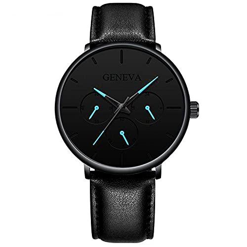 ZRSJ Mesa de Cuarzo para Hombre Moda Color Pointer Calendario Explosivo Net Belt Watch Watch Men's Watch(Aguja Azul Negra)