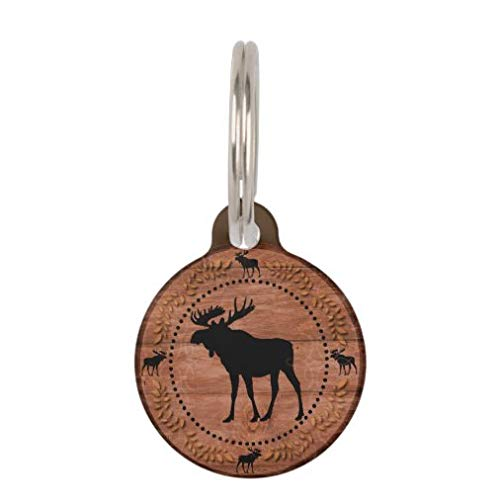 onepicebest Personalized Pet Tags for Dogs and Cats,Custom Pet ID Tags, Rustic Moose Wooden Circle Custom pet id tag Pet Gifts - Round Stainless Steel