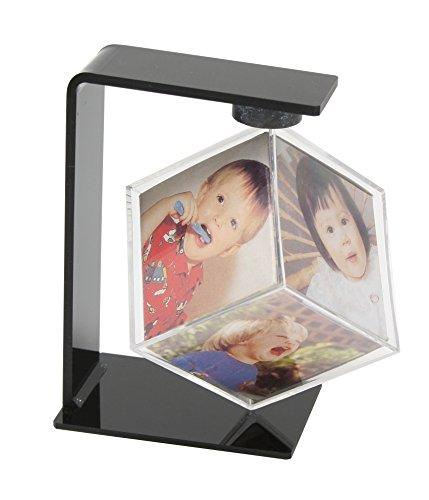 Deknudt Frames S58RF4 Fun & Deco 6x6 drehbarer Kubus aus Plexi,in schwarzem Halter, 6X(6x6cm) Kunststoff Fun & Deco