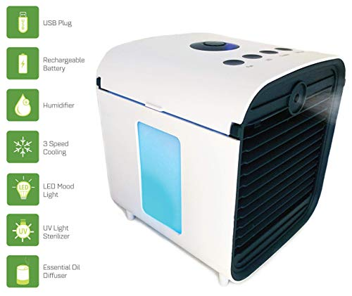 Spantron Portable Air Conditioner Fan - Best 5-in-1 Personal Home & Office Desk Swamp Cooler, Mist Diffuser, Humidifier with LED Light and | USB Plug & 2 Hr Rechargeable Battery (Renewed)