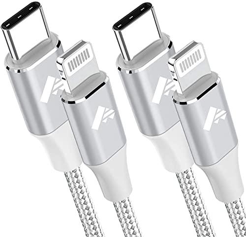 USB C auf Lightning Kabel [2 Stück 1M+2M] iPhone Ladekabel MFi Zertifiziert Power Delivery Nylon Fast USB Typ C Lightning Ladekabel für iPhone 12/12 Pro Max/12 Mini/11/11 Pro/SE 2020/XR/XS/X/8/8 Plus