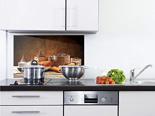 GRAZDesign Glasbilder Frühstück - Glaswand Küche Tisch mit Tasse - Küchenrückwand Glas Croissant Bohne Mühle / 80x50cm