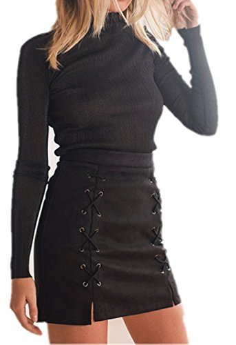 katiewens Women's Classic High Waist Lace Up Bodycon Faux Suede A Line Mini Pencil Skirt Black