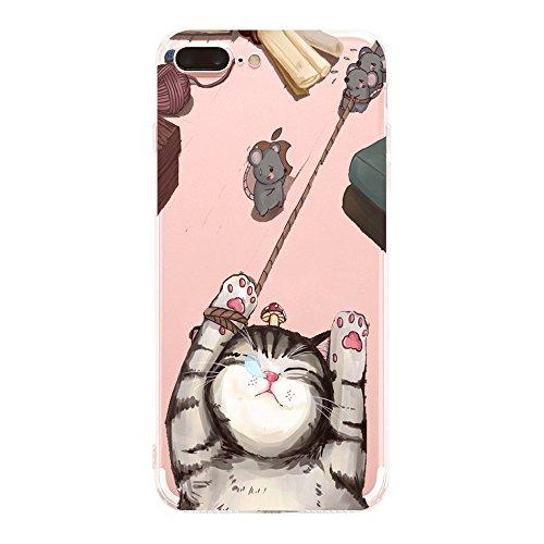 Alsoar Compatibile Sostituzione per iPhone 8 Plus Case Trasparente, iPhone 7 Plus Cover, Sottile e Leggera Silicone Trasparente Anti Scivolo Graffi Morbido TPU Design Creativo (Gatti e Topi)