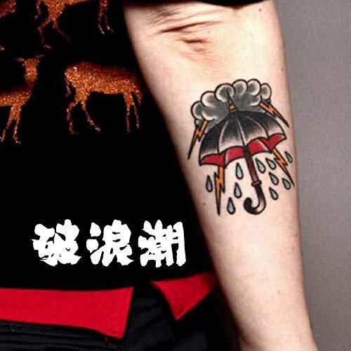 Tattoo Aufkleber Old School Cloud Regenschirm wasserdichte Retro Blitzkunst