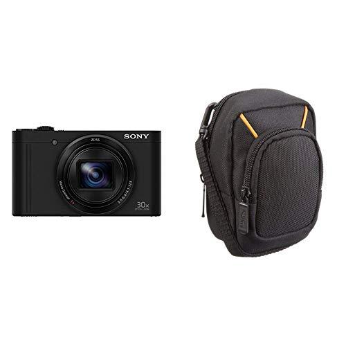 Sony DSC-WX500 Kompaktkamera (60x Zoom, Full HD) & AmazonBasics Kameratasche für Kompaktkameras, groß