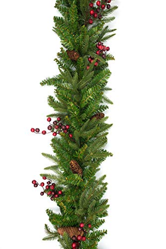 Vita Domi 9'x14 Wellington Fir Pine Spruce Decorative Garland 2 Tone Green with 480 Tips Berries and Pinecones(Unlit)