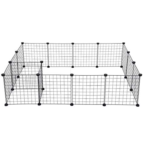 ErYao Shipped from USA,Metal Pet Dog Playpen Metal Exercise Pen Dog Fence Dog Kennel, Pet Fence Cage Kennel Crate for Cats, Puppy, Rabbit, Ferret, Guinea Pig, Bunny (Black)