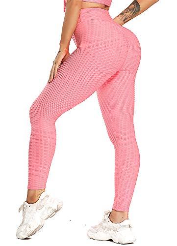 INSTINNCT Damen Slim Fit Hohe Taille Sportshort Lange Leggings mit Bauchkontrolle Rosa L