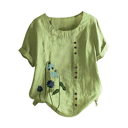 ZSBAYU Linen Shirts Women O-Neck Short Sleeve Floral Print Vintage Blouse Tunic Pullover Casual Buttons Tops