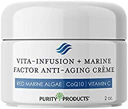 Red Marine Algae + Vitamin Infused Anti Aging Cream from Purity Products - Vita-Infusion + Marine Factor Creme w/Red Marine Algae, CoQ10, Vitamin C + More - Luxurious Skin + Face Hydration - 2 oz.