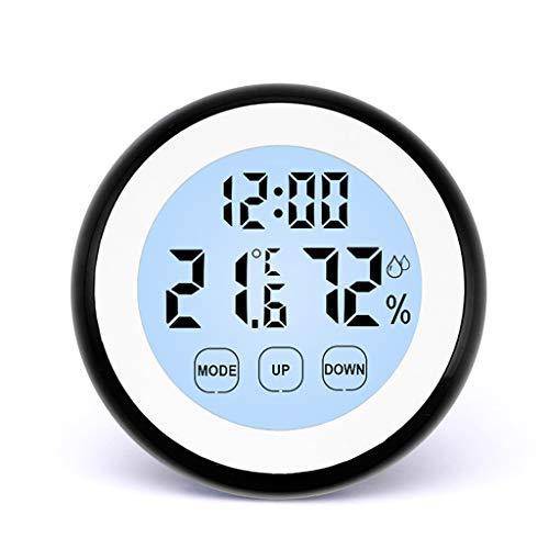 Kai Xin Indoor Thermo-Hygrometer, Hochpräzisions-Thermometer, Digital Hygrometer, Luminous Und Wecker, Büro, Babyzimmer, 4 Farben zur Auswahl (Color : Black)