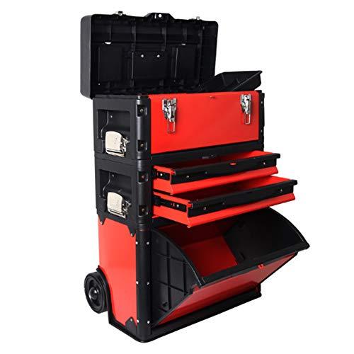 Taller Movil Modular,Caja Herramientas De Carro Rodante 3 En 1,Organizador De Cajas Para Construcción Edificios,Instalación Agua Y Electricidad,Maquillaje,Peluquería,520×320×720Mm,Rojo