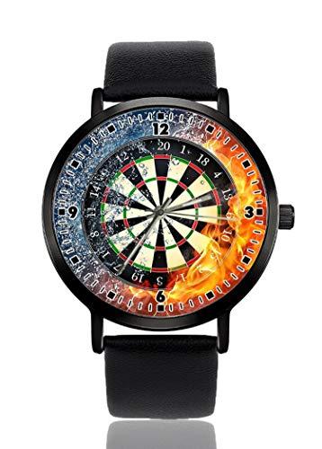 Darts Board Fire Water Armbanduhr für Herren und Damen, lässiges Lederarmband, analoges Quarz, Unisex