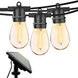 48FT Outdoor String Lights, Solar String Lights Outdoor with 15+1(Spare) Bulbs, Waterproof LED String Lights with Flashing Mode, Energy-Saving Patio Light for Backyard Garden Porch Café