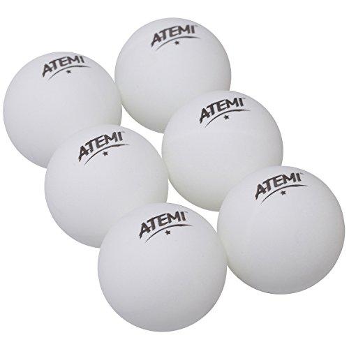 Atemi Norm - Juego de Pelotas de Ping Pong (6 Unidades), para Interior y Exterior, Juego de Tenis de Mesa estándar de 40 mm, Mejora en Rebote, redondez, dureza, Color Naranja o Blanco