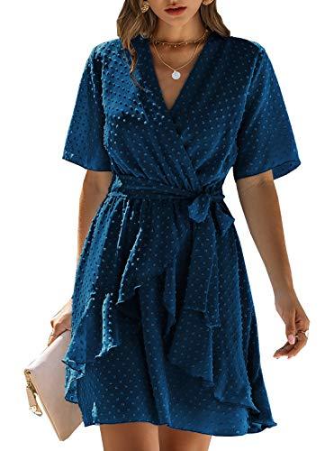 BTFBM Women Fashion Faux Wrap Swiss Dot V-Neck Short Sleeve High Waist A-Line Ruffle Hem Plain Belt Short Dress (Dark Blue, Large)