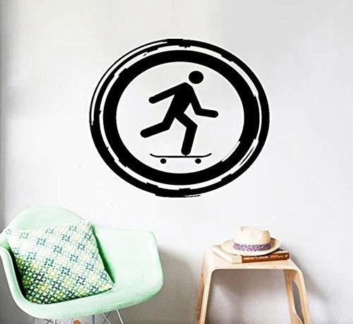 Muurstickers 47x42 cm sport-skateboard-logo zwart sticker afneembare pvc-decoratie moderne waterdichte zelfklevende kunst creatieve doe-het-zelf