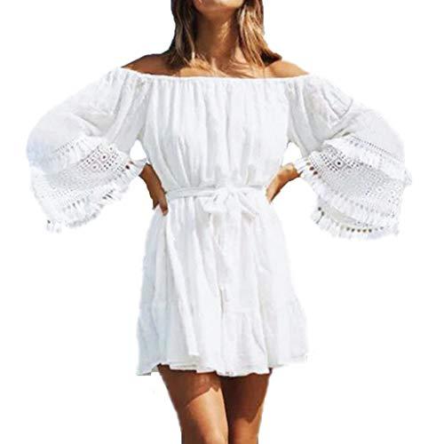 Frauen EIN Wort Kragen Normallack-Spitze-Verkleidungs-Baumwollminikleid Art und Weise reizvolles Schulterfrei Partei-Kleid Sonojie