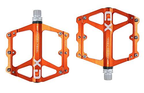 FrontStep General Aluminium Anti-Rutschpedale Leicht Fahrrad Pedale Mit Cr-Mo Stahlspindel Für MTB/Mountainbike Pedal/BMX Pedal (Orange)