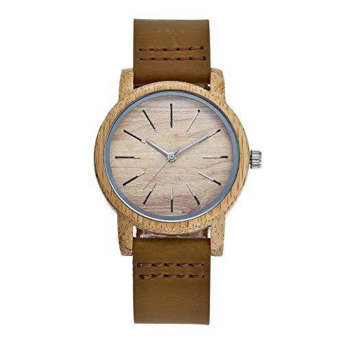 GLEMFOX paar horloge analoog kwartsuurwerk horloge bamboe hout leren band houten horloge Classic Casual heren en dames kwartshorloge Small