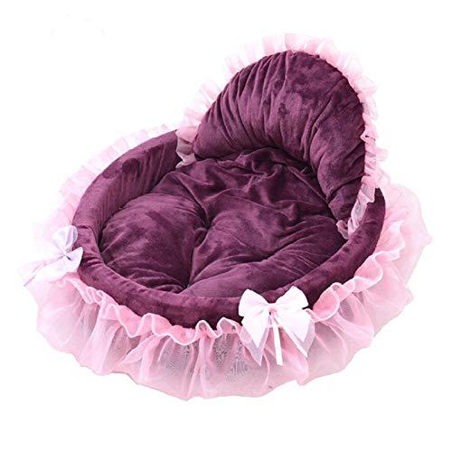 Jgzwlkj Haustierbett Luxus Hundehaus Kennel Prinzessin Spitze Katze Nestmatte Schöne Haustier Hund Bett Cat Bett Für kleine mittelgroße Hunde Puppy Sofa (Color : Purple, Size : 46X43CM)