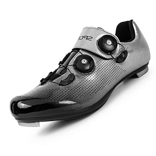 Men Cycling Shoes Men Peloton Shoes Premium Mountain Bike Shoes Comfortable Breathable Peloton Shoes Men Spin Shoes Men Bike Footwer Peloton Shoes Men Silver Gray
