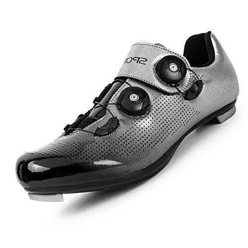 Men Cycling Shoes Men Peloton Shoes Premium Mountain Bike Shoes Comfortable Breathable Peloton Shoes Men Spin Shoes Men Bike Footwer Peloton Shoes Men Silver Gray