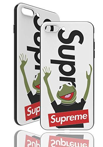 SUP Frog Hülle [ Passend für iPhone 7/8 Plus, in Weiß ] Supreme x Kermit der Frosch Hülle - Fühlbares 3D-Motiv Cover
