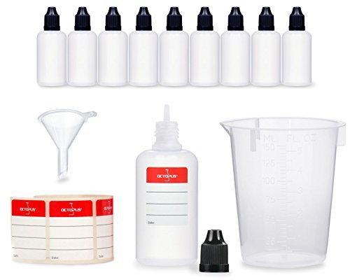 10 botellas de líquido de 50 ml con embudo + vaso medidor...